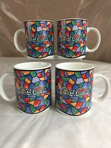 Coca-Cola Mugs Mosaic Stained Glass Pattern Gibson 1996 Set of 4 Vtg Multi color