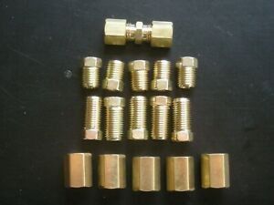 3 16 Brake Fittings Brass Inverted Flare Union Compression Fitting 16 Pcs E