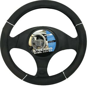 New Black Chrome Accents Car Steering Wheel Cover Pu Leather Size S 13 5 14 5