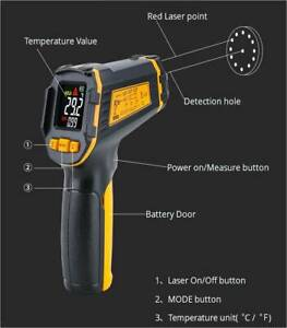 Non contact Digital Lcd Infrared Laser Thermometer Temperature Meter Pyrometer