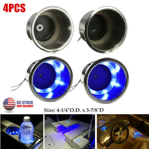 4pcs Stainless Steel Cup Drink Holder W blue 8led For Boat yacht truck car rv Us