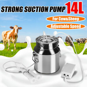 14l Electric Milking Machine Vacuum Pump Stainless Steel Cow Goat Milker Farm