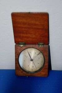 Antique Maritime Compass Made In France In Mahogany Hinged Box