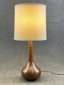 Mid Century Modern Koa Teak Wood Table Lamp 27
