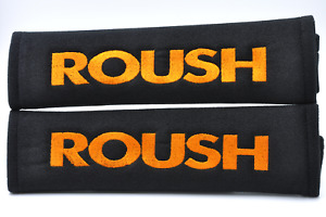Embroidery Orange On Black Seat Belt Cover Shoulder Pads Pairs For Roush Racing