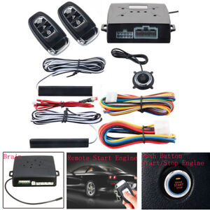 Pke Passive Keyless Entry Push Button Remote Engine Start Stop Alarm System Kit