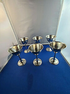 Rare Set Of 6 International Silver Co Sterling Silver Wine Goblets 4 3 4 Nm