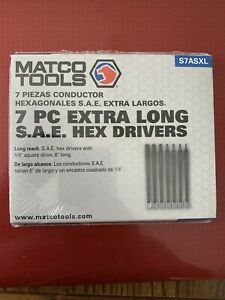 Matco Tools 7 Pc 1 4 Drive Extra Long Hex Drivers Sae New