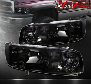 For 1994 2001 Dodge Ram 1500 2500 1pc Headlights Smoked Lens Clear Reflectors