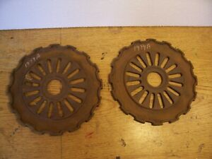 2 Vintage Cast Iron Ih Planter Plates 1977a International Harvester Lot C