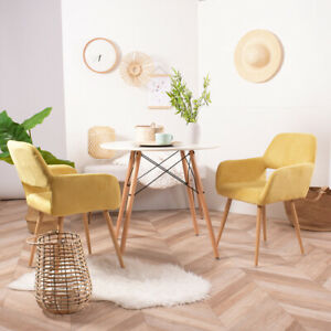Home Office Chair Upholstered Dining Chairs Small Accent Armchair Modern Yellow