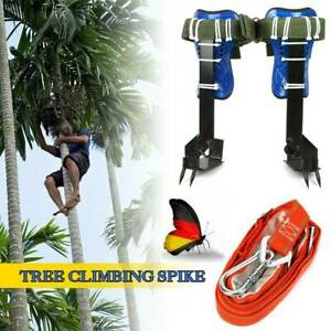 2 gear Tree Climbing Spike Set Safety Belt Lanyard Rope Pedal Adjustable Lanyard