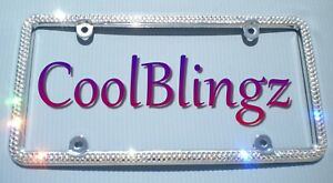 Made W Swarovski Crystal Bling License Plate Frame 2 Row Clear Rhinestone Cover