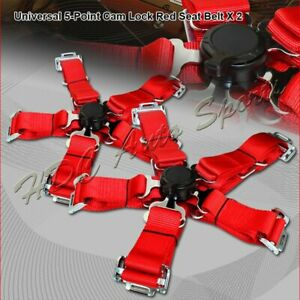 2 X Universal Jdm 5 point Cam Lock Red Nylon Safety Harness Racing Seat Belt
