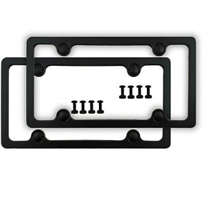 2 Matte Black Plastic Abs License Plate Frames Bolts Caps Kit For Auto Car Truck