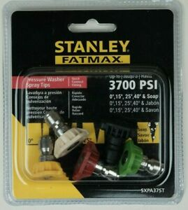 Pressure Washer Spray Tips 5 Piece 3700 Psi Stanley Fatmax Free Shipping