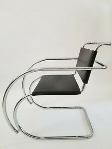 Vintage Mies Van Der Rohe Mr20 Cantilever Chrome Leather Chair By Knoll