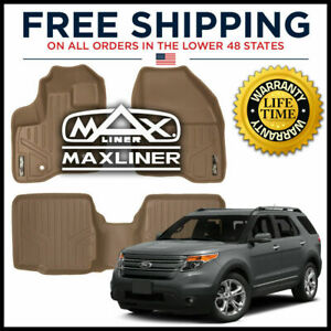 Maxfloormat 1st 2nd Floor Liners Tan For 2011 2014 Explorer W 2nd Row Console