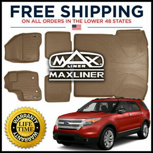 Maxliner 1st 2nd Cargo Floor Mats Set Tan For 2011 14 Explorer W 2nd Row Console