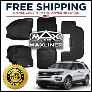 Maxfloormat 1st 2nd W Console 3rd Row Floor Liner Mat Black For 2015 16 Explorer
