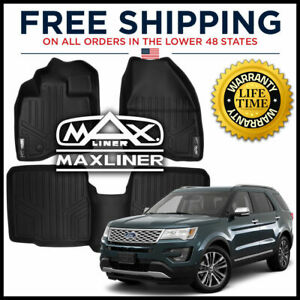 Maxfloormat 1st 2nd Row W O Console Floor Liner Mat Black For 2015 2016 Explorer