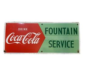 Vintage Coca-Cola Fountain Service Fish Tail Single Sided Porcelain Sign