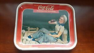 Coca cola 1940 Sailor Fishing Girl Coke Serving Tray