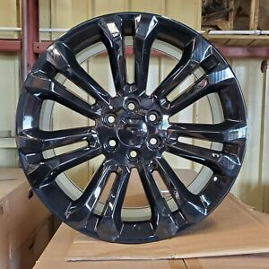 1 22 Black Gmc Split 7 Spoke Style Wheel 22x9 6x139 7 24mm Sierra Chevy Blem