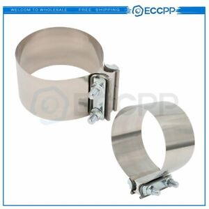 3 5 Ss Butt Joint Clamp Sleeve Coupler Exhaust Stainless Steel T 304 2pcs