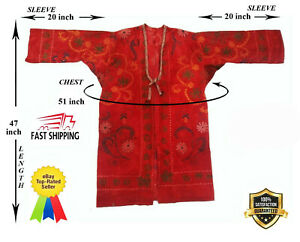 Vintage Uzbek Suzani Red Velour Beautiful Embroidery Robe Dress Sale Was 199 00