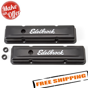 Edelbrock 4443 Signature Series Valve Covers For 1959 1986 Chevrolet 262 400 Sbc