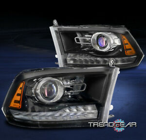 For 2009 2018 Dodge Ram 1500 2010 2500 3500 Led Projector Headlights Lamp Black