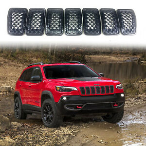 7pcs For Jeep Cherokee 2019 2020 Black Grill Inserts Front Grille Accessories