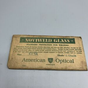 American Optical Company Noviweld Shade 11 Welding Lense Glass 2 X 4 Green