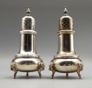 Vtg Whiting Sterling Silver Salt Pepper Shaker Set George Ii Reproduction Ram
