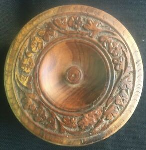Antique Victorian Wood Hand Carved Sewing Jewelry Trinket Box Flowers