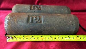 Very Nice Pair Of Old Antique Cast Iron Grandfather Clock Weights
