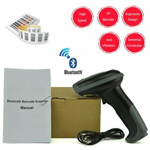 Wireless Bluetooth Barcode Scanner Handheld With Usb Cable Laser Rechargeable