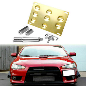 Tow Hook License Plate Mounting Bracket Holder Gold For Mitsubishi Nissan