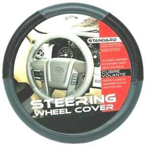 New Gray Black Car Steering Wheel Cover Pu Leather Size M 14 5 15 5
