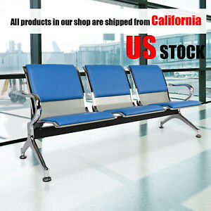 Office Pu Leather Waiting Room Chair Reception Bench Visitor Guest Sofa Blue