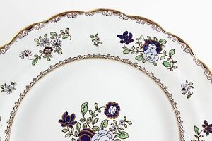 Set 4 Antique Booth S Bone China England A8086 Scalloped Bread Plates Gold Blue