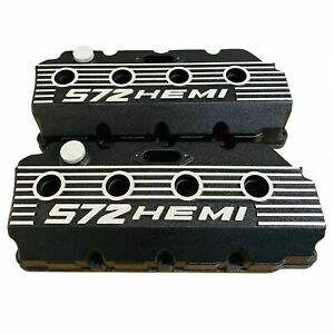 New Mopar Performance 572 426 Hemi Black Cast Aluminum Finned Valve Covers Gen 2