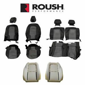 2012 2014 Mustang Roush Black Gray Leather Suede Front Rear Seat Upholstery