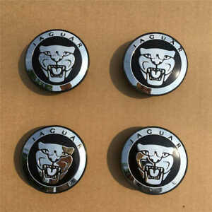 4pcs Wheel Center Caps 59mm Emblems Hubcaps Covers Logo Fit For Jaguar Jag Black