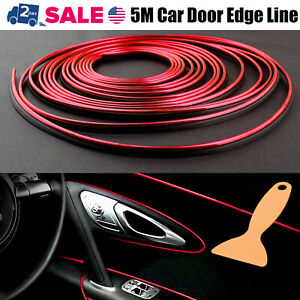 5m Car Interior Door Gap Panel Edge Line Molding Trim Strip Insert Decorate Red