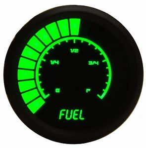 2 1 16 Universal Analog Fuel Gauge Green Leds Black Bezel Lifetime Warranty