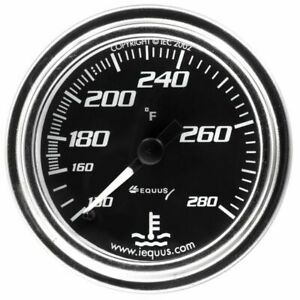 Equus 2 Water Temperature Gauge Kit Black Chrome Bezel 7242 130 280 F Range