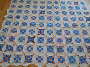 Hidden Circle Quilt Top Hand Pieced Sewn Vintage Fabrics 65 X82 Feed Sack 1930s