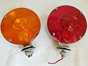 Vintage Yankee Turnflex 2 Stop Turn Signal Lights Amber Chrome Red Double Side